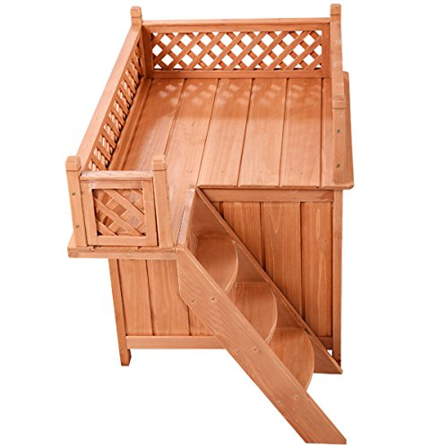 NEW! Wood Pet Dog House Wooden Puppy Room Indoor & Outdoor Roof Balcony Bed Shelter