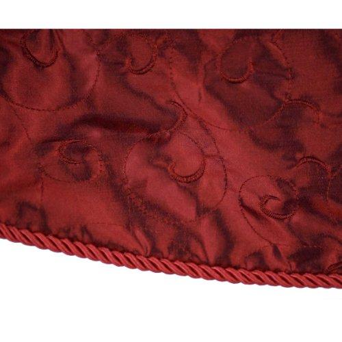 "ChristmasLtd: 56"" Custom Tree Skirt Burgundy Embroidered Satin Swirl, 38299CTS56"