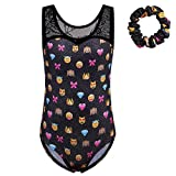 BAOHULU Girls One-piece Sparkle Spliced Dancing Athletic Gymnastics Leotard with Hair Scrunchie (10A, Blackemoji)