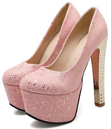 Idifu Mujeres Dressy High Block Metallic Heels Plataforma Low Top Slip On Bombas Zapatos Rosa