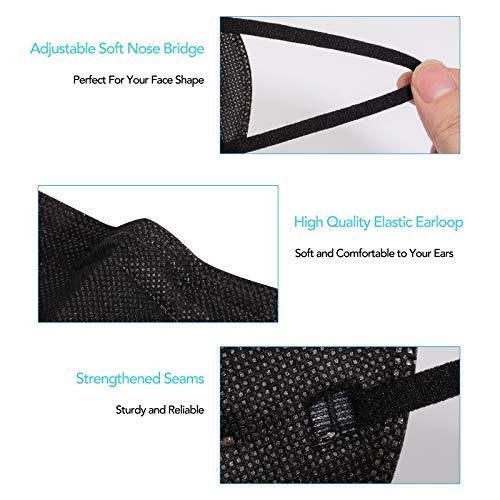 FGCCJP 30pcs KN95 Face Mask Professional 5 Layer Breathable Cup Dust Masks (Black)