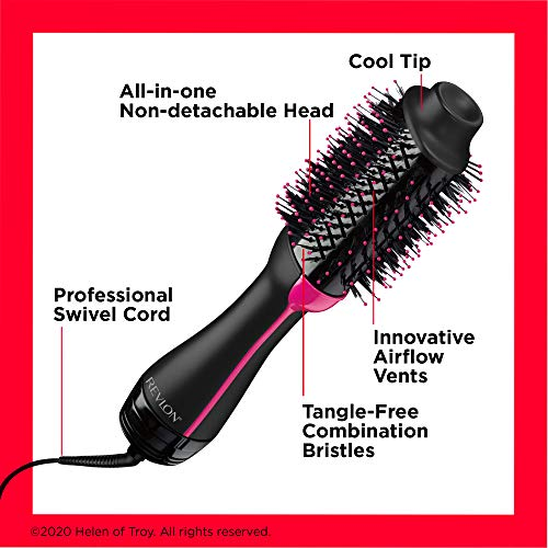 Revlon One-Step Hair Dryer And Volumizer Hot Air Brush, Black (Packaging May Vary)