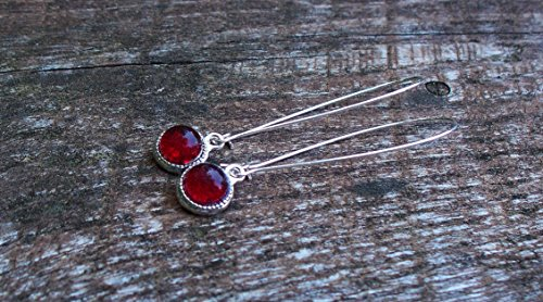 - Recycled Vintage 1940's Red Beer Bottle Long Drop Charm Earrings
