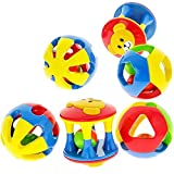 Aimeio (3 Pack) Baby Rattle Toys Set,Rolling Ball Shaker Handbells Shake and Grab Rattle Developmental Toy for Infant Newborn