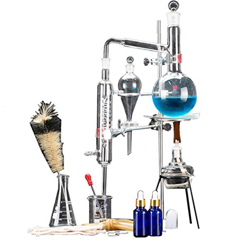24pcs New 500ml Lab Essential Oil Distillation Apparatus Water Distiller Purifier Glassware Kits w/Condenser Pipe Flask