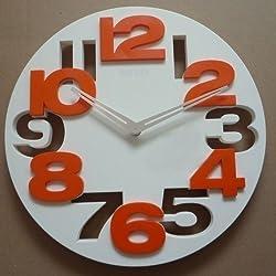 Worldoor®Hot Sale 3D Big Digit Modern Contemporary Kitchen Office Home Decor Wall Clock Black (White)