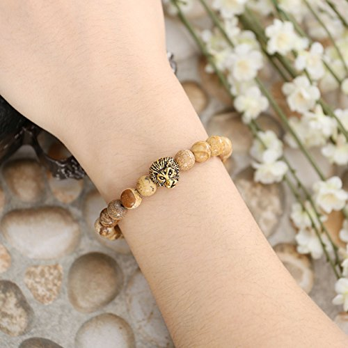 Top Plaza Jewelry Lava Rock Turquoise Matte Agate Picture Jasper Mens Womens Bracelet, Energy Beads, Gold Plated Lion Head (Pack of 4)