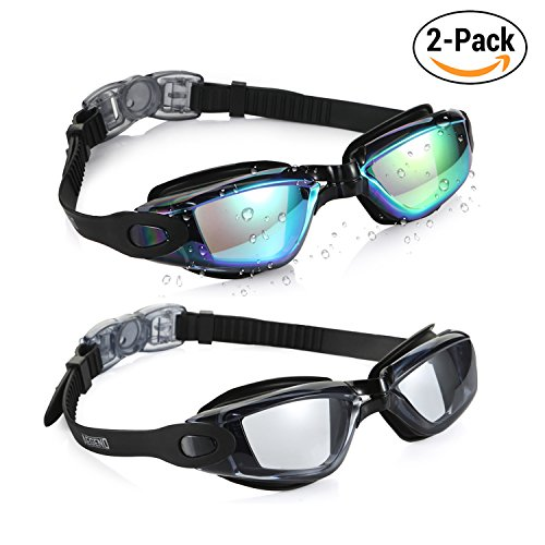 Aegend Swim Goggles, Pack of 2 Swimming Goggles Crystal Clear No Leaking...