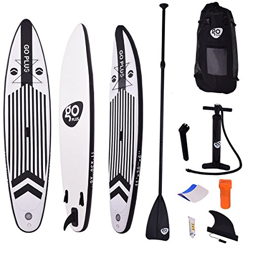 Goplus 11' SUP Inflatable Cruiser Stand Up Paddle Board iSUP 6'' Thickness w/3 Fins Thuster, Adjustable Paddle, Pump Kit and Backpack by Goplus