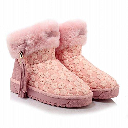 Carolbar Womens Sweet Cute Geborduurde Kwastjes Wram Faux Fur Snowboots Roze