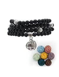 Bivei Lava Rock Stone Diffuser 108 Buddhist Mala Prayer Beads Locket Pendant Charm Wrap Buddha Bracelet Necklace