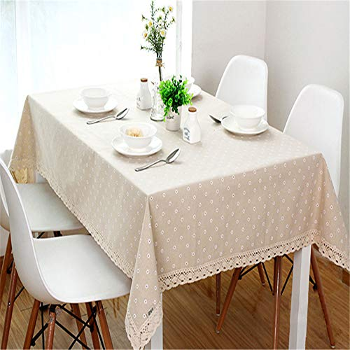 - zfdvho Daisy Flower red Cherry Pattern Tablecloth Linen and Cotton Edge Rectangular Tablecloth Home Hotel Textile White Daisies 145x220cm