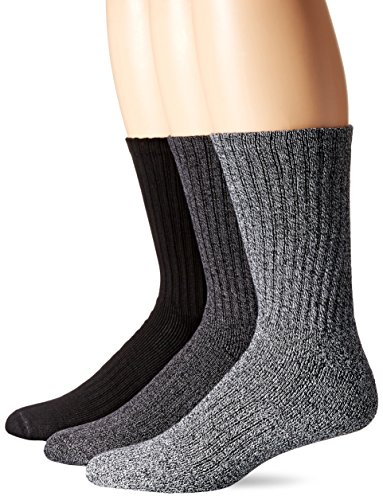 Dockers Men's 3 Pack Enhanced and Soft Feel Cushion Crew Socks, Black Fashion, Shoe Size: 6-12 Size: 10-13