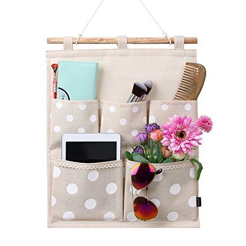 - Homecube Linen Cotton Fabric Wall Door Cloth Hanging Storage Bag Case 5 Pocket Home Organizer (White Polka Dots)
