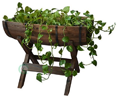 Gardenised Half Barrel Planter with Stand ()