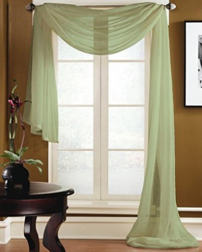 Gorgeous Home 1 PC SOLID SAGE GREEN SCARF VALANCE SOFT SHEER VOILE WINDOW PANEL CURTAIN 216