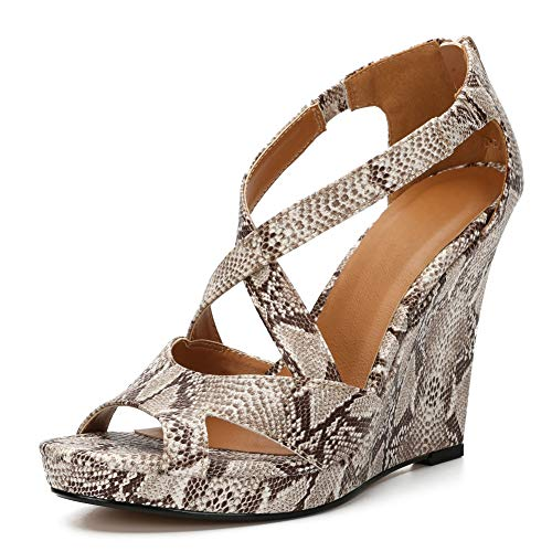 Women's Wedge Heel Sandals Cross Ankle Strap Peep Toe Platform Heels Snakeskin Label Size 39 - US 8
