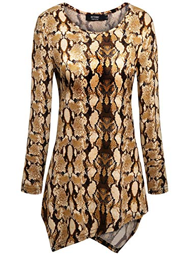 Snake Print Tops for Women,Women's Casual Snakeskin Tunic Tops and Blouses Womens High Low Asymmetrical Hem Tunics Shirt Hankerchief Hemline Long Sleeve Tee T Shirts 2XL XX-Large Brown Snake ()