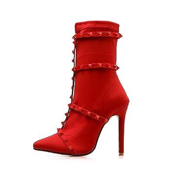 LIANGXIE Botines de Mujer Tacones Altos Vestido clásico Botines Temperamento Botines de tacón Alto Cinturón en Punta Remache Estilete Boda Rojo Botas de ...