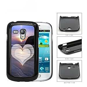 Beach Scene Sunset with Heart Hard Snap on Cell Phone Case Samsung Galaxy S3 MINI I8190