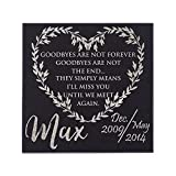 P Lab Personalized Granite Pet Memorial Stone I'll Miss You Until Customized Tombstone - Loss of Pet Gift- Indoor Outdoor Dog or Cat For Garden Backyard 12'' x 12'' #7