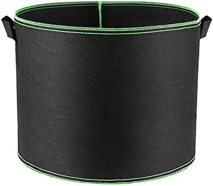 HONGVILLE 5-Pack Grow Bags Aeration Fabric Pots w Handles 30-Gallons, Green