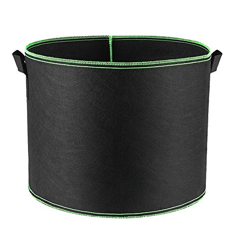 HONGVILLE 5 Piece Grow Bags/Aeration Fabric Pots with Handles, 7 gal, Green