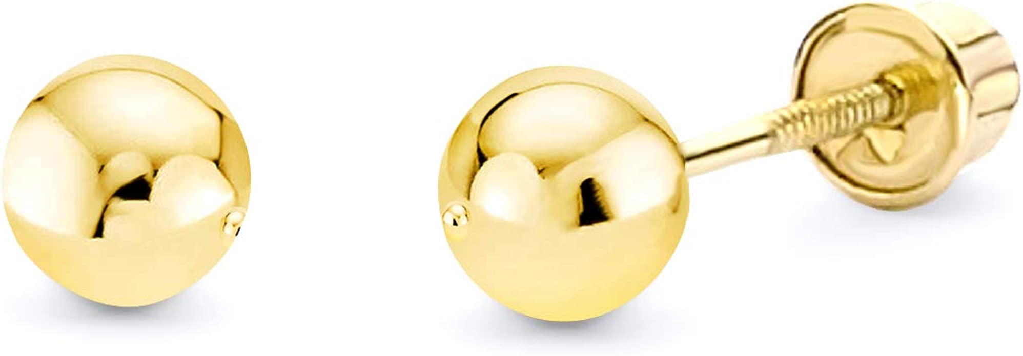 Wellingsale 14K Yellow Gold Polished 6mm Ball Stud Earrings With Silicone Back