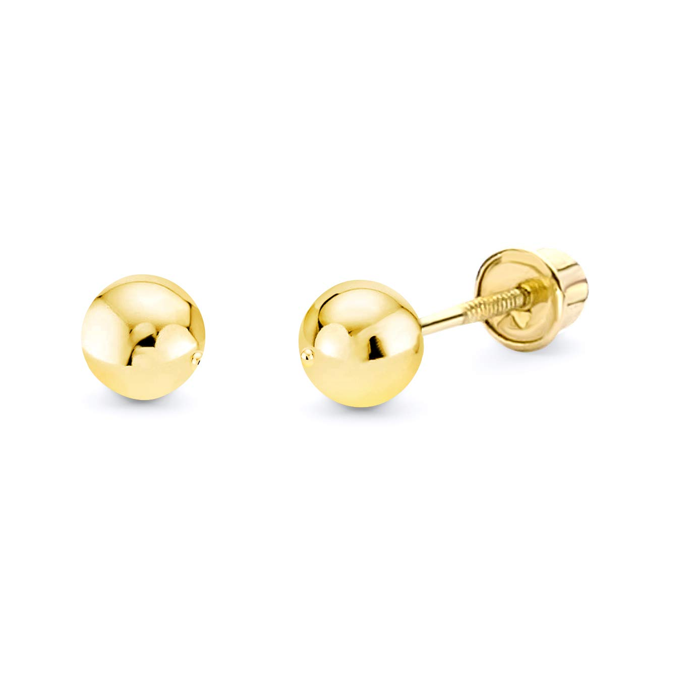14k Yellow Gold 4mm Ball Stud Earrings with Screw Back