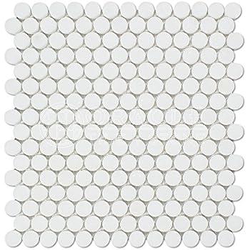 Thassos White Greek Marble Penny Round Mosaic Tile Honed Amazoncom - Cheap penny round tile