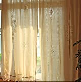 Crochet Curtains Cotton Linen Long Solid Embroidery Rod Pocket Window Curtains/Drape/Panels/Treatment with Crochet Border, 71x71 inches (71