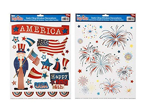 """AM Static Patriotic 12"""" x 17"""" Window Cling Decorations Assortment of Two Different Designs - American Flag and Uncle Sam USA 4th of July Fireworks - Bundle of 2-Items"""