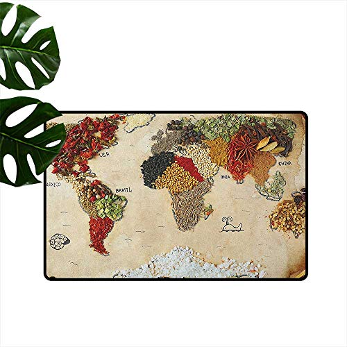 (RenteriaDecor World Map,Outdoor Floor Mats Map of World Different Spices Design with Food Symbols Bohemian Style Artwork 20