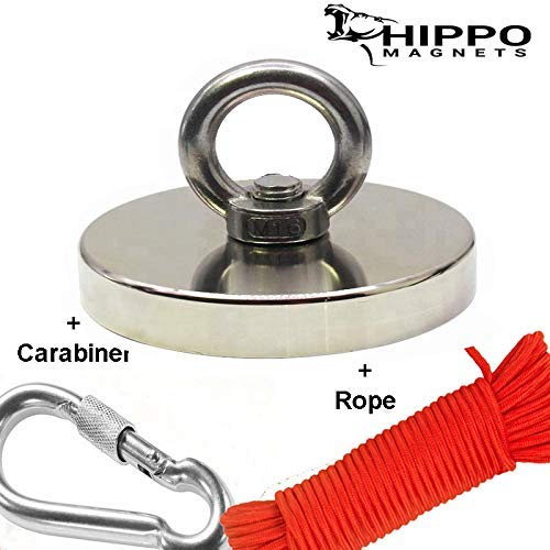 Fishing Magnet Kit - 1500 LBS Pull Force Round Neodymium Magnet with Rope and Carabiner, 4.72 inch Diameter by Hippo Magnets by HIPPO MAGNETS