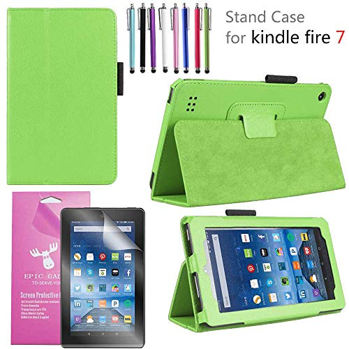 EpicGadget 2019/2017 Amazon Fire 7 Case, Smart Cover Case for Fire 7 Premium PU Leather Folding Folio Stand Case for Fire 7 inch (2019/2017 Release) + 1 Screen Protector and 1 Stylus (Green)