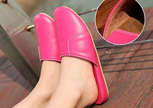 Cattior Mujeres Solid Comfy House Slippers Zapatillas De Cuero Rose-red