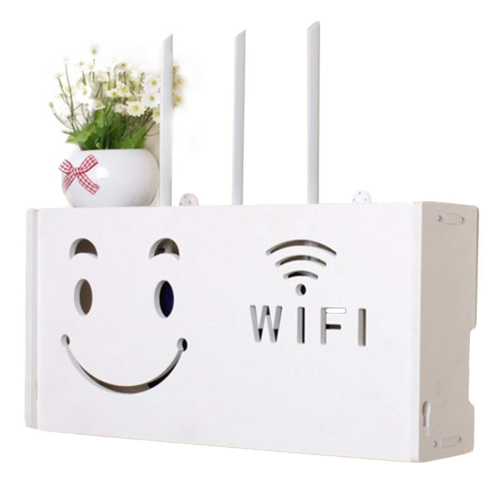 yazi WiFi Router Cable Power Plug Wire Storage Boxes Wall Mount Floating Shelf Storage Rack happyness2014 004117
