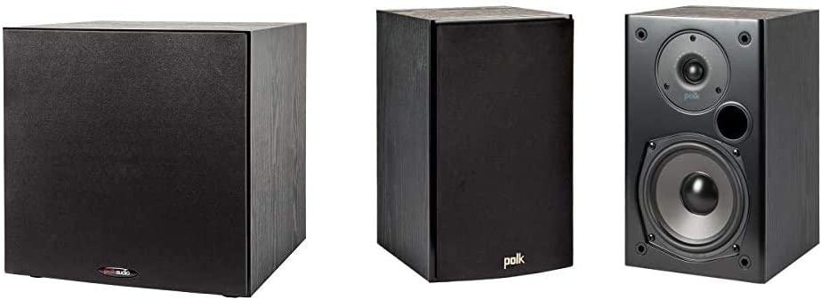 "Polk Audio PSW108 10"" Powered Subwoofer & T15 100 Watt Home Theater Bookshelf Speakers – Hi-Res Audio with Deep Bass Response 
