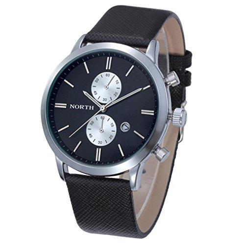Wristwatch,Pocciol Men's Military Waterproof Lumilous Hands Large Face Leather Date Watch Clock (C)