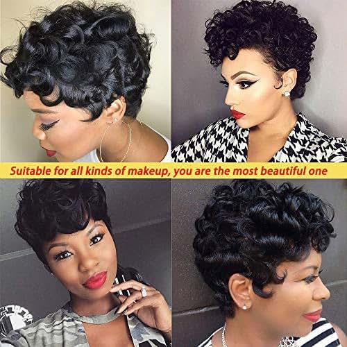 Short Pixie Cut Wigs for Black Women Short Black Wavy Wigs Curly Pixie Wig Human Hair Short Curly Wigs for Black Women 100% Short Human Hair Wigs with Bang Short Cut Wigs Brazilian Short Remy Wigs