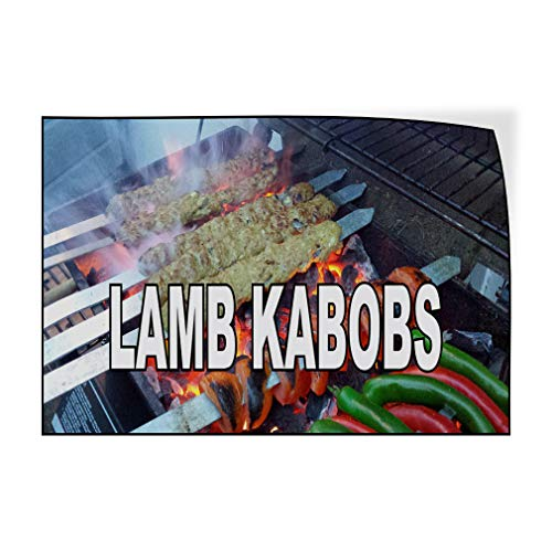 Decal Sticker Multiple Sizes Lamb KABOBS Food Fair Restaurant Cafe Market Food & Beverage Lamb Kabobs Outdoor Store Sign White - 60inx40in,