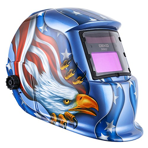 Solar Powered Welding Helmet Auto Darkening Hood with Adjustable Shade Range 4/9-13 for Mig Tig Arc Welder Mask Blue Eagle - Panel Down Solar Stick