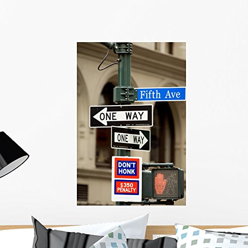Fifth Avenue Sign Pedestrian Wall Mural by Wallmonkeys Peel and Stick Graphic (24 in H x 16 in W) - Shopping Avenue 5th