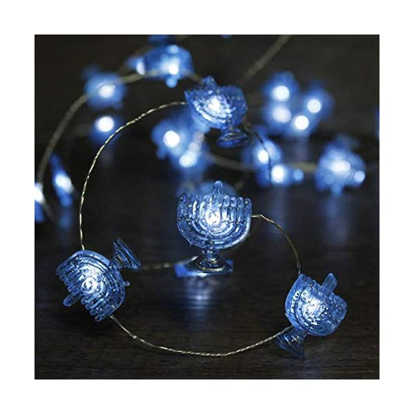 Impress Life Chanukah Decorative String Lights 10ft 40 Led Hanukkah Menorah Twinkle Lights Battery Operated With Remote For Jews Synagogue Judaism Wedding Bedroom Party Candelabra Decoration Yidazon