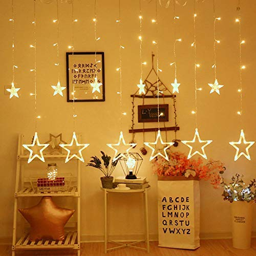 LAZYMARTS 138 LED Plastic Star Curtain String Lights with 8 Modes Hanging for Decoration (Warm Yellow)