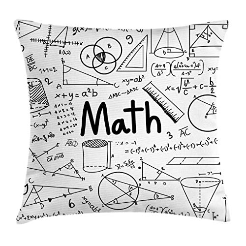 Ambesonne Mathematics Classroom Decor Throw Pillow Cushion Cover, Hand Written Math Text and Icons Equations Geometrical Shapes, Decorative Square Accent Pillow Case, 16 X 16 Inches, Black White by Ambesonne