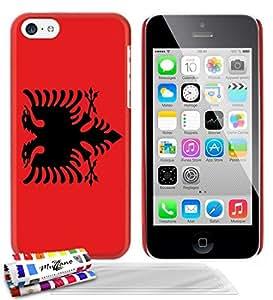 """Carcasa Rigida Ultra-Slim APPLE IPHONE 5C de exclusivo motivo [Bandera Albania] [Roja] de MUZZANO  + 3 Pelliculas de Pantalla """"UltraClear"""" + ESTILETE y PAÑO MUZZANO REGALADOS - La Protección Antigolpes ULTIMA, ELEGANTE Y DURADERA para su APPLE IPHONE 5C"""