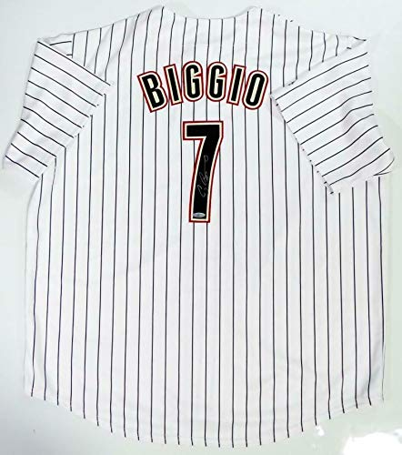 Houston Astros Pinstripe - Craig Biggio Signed Jersey - Pinstripe Majestic Auth *7 - Tristar Productions Certified - Autographed MLB Jerseys