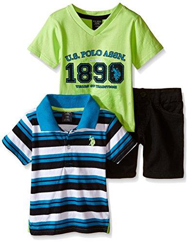 U.S. Polo Assn. Boys' 3 Piece V-Neck T-Shirt, Jersey Shirt and Twill Short, Neon Green, 3-6 Months