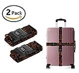 YEAHSPACE Retro Library Bookshelf 2-PC Set Adjustable Travel Luggage Straps Suitcase Strap Belts 3 Digit TSA Lock